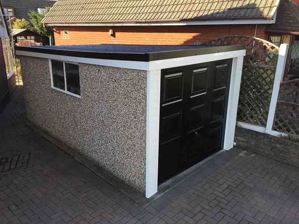 Anthracite Grey Pent Garage Roof