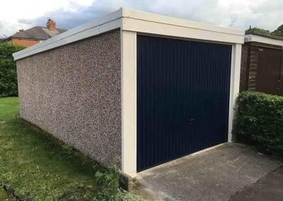 Pent Garage with Blue Door