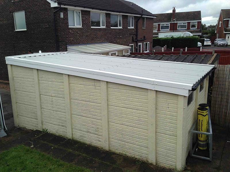 Mono Pitch Garage Roof in White