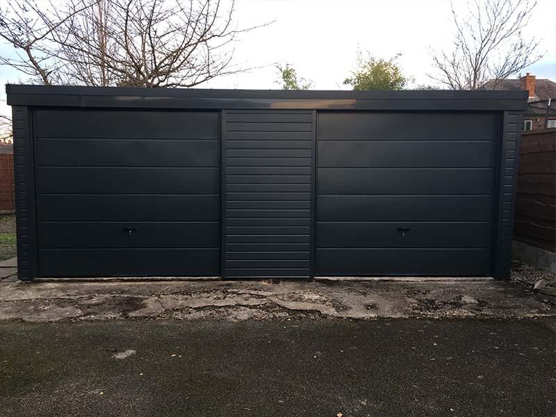 Anthracite Grey Garage Door & Garage Cladding