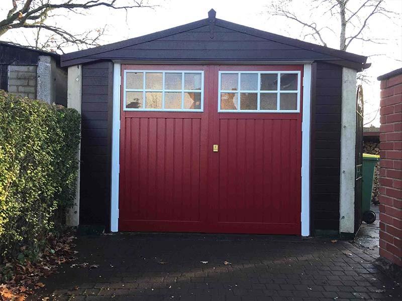 Side Hinged Garage Door in Red