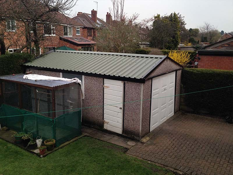 Wide Apex Garage Roof Replacement