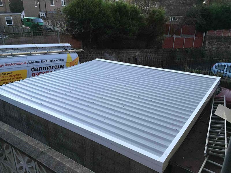 Large Garage Roof Replacement in Grey