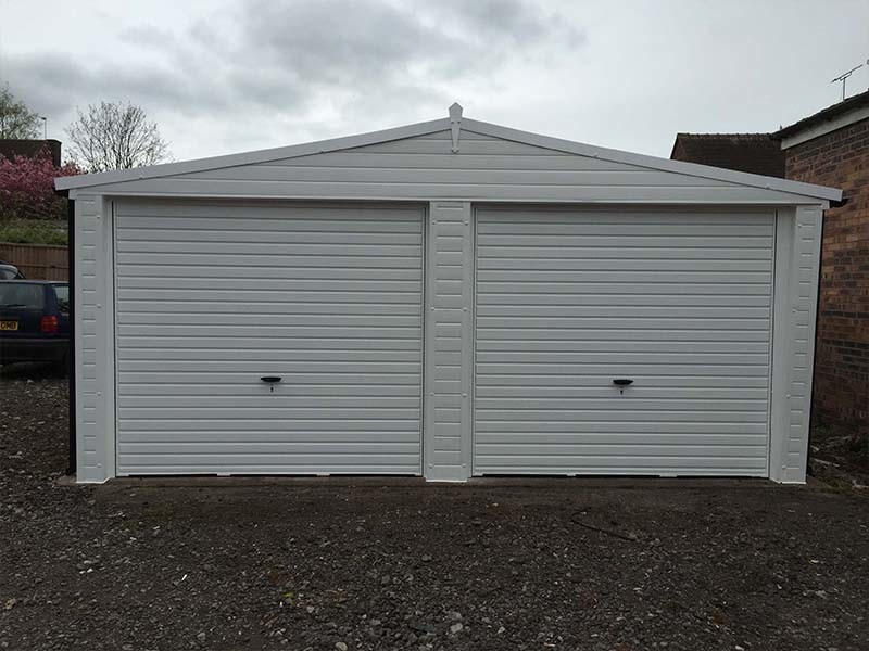 Garage Wrapped in uPVC Cladding in White