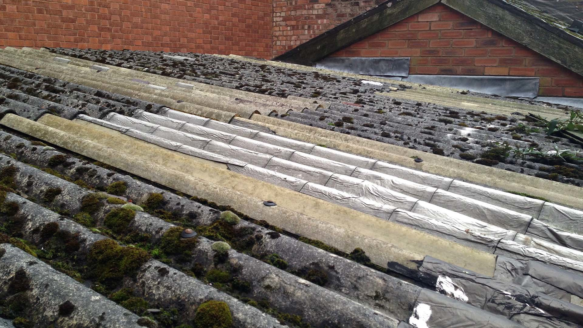 Old Leaking Asbestos Garage Roof