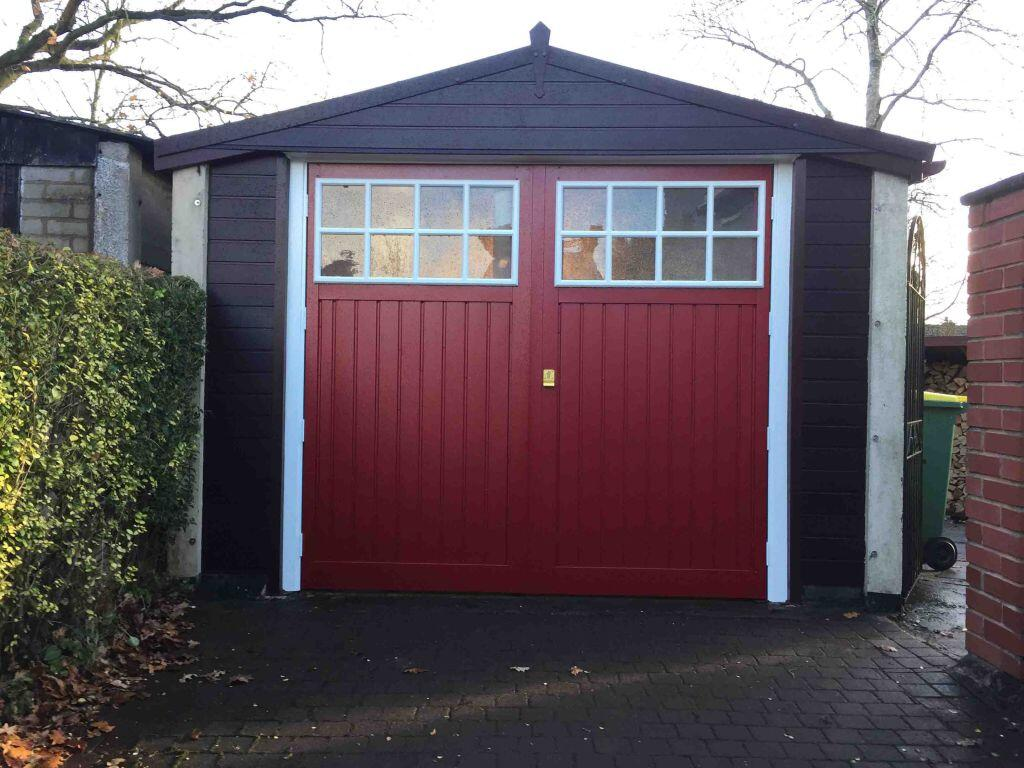 Side Hinged Garage Door Replacement in Red