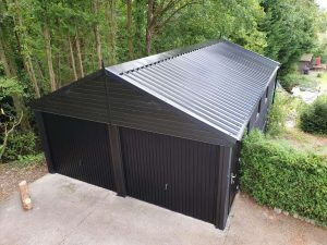 Garage Roof Types Black Plastisol coating