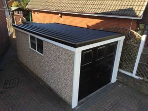 Single Garage with Anthracite Pent Garage Roof