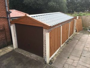 Tile Effect Garage Roof with Rosewood uPVC