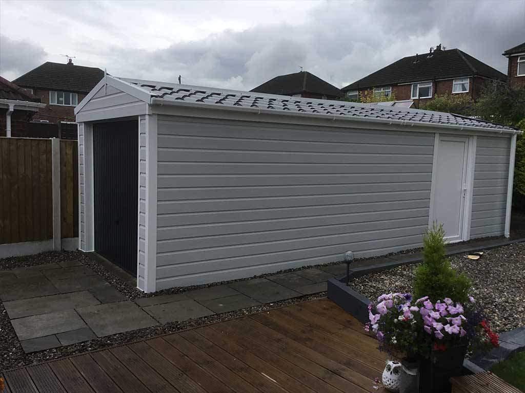 Garage Refurbishment with Grey Cladding uPVC Wrap