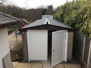 Apex Garage with Vertical Lined Side Hinged Garage Door