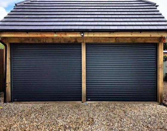 Roller Garage Door in Navy Blue